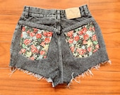 Size 25 Black Custom Made High Waisted Denim Shorts With Floral Pockets and Mini Stud Detail