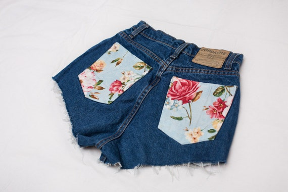 Size 24 Custom Made High Waisted Denim Shorts With Floral Pockets ON SALE NOW