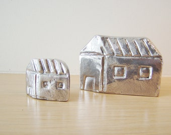 Pair of two Greek cottage miniatures, metal cottage sculptures, alumimum Greek houses, Greek folk art, set of two house miniatures