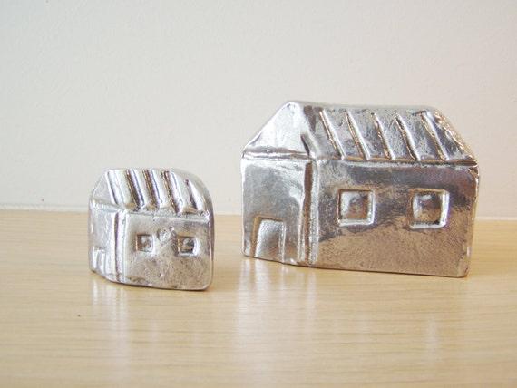 Pair of two Greek cottage miniatures, metal cottage sculptures, alumimum Greek houses, Greek folk art, set of two house miniatures