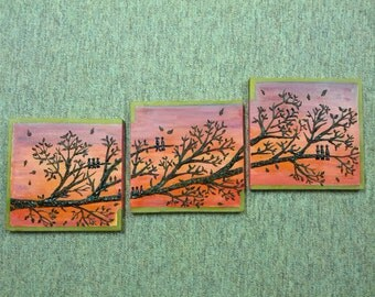 Hennaed canvas, Home decoration, canvas, painting with henna, sunset scene,  tree branch with henna,