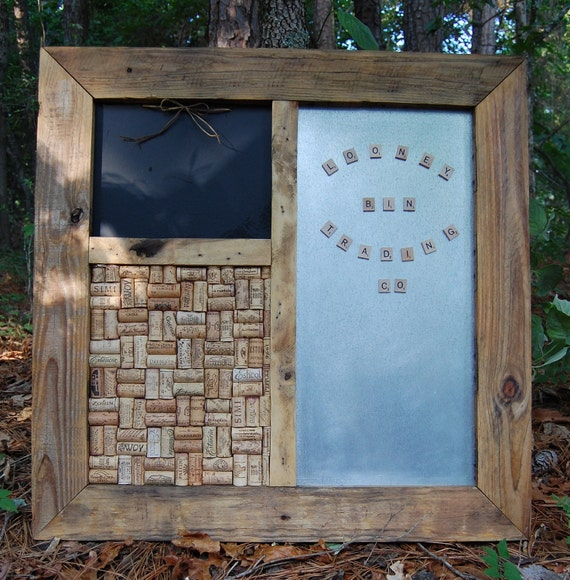 Message Center with Magnets/ Magnetic/ Chalk/ Wine Cork Board