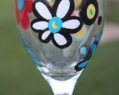 Hand painted wine glass.