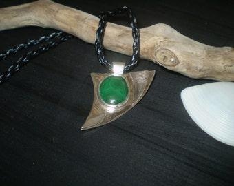 Handmade unique malachite cabachon sterling silver pendant