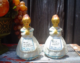 Adorable Vintage Plastic Praying Girls Salt and Pepper Shakers
