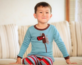 Hand Crochet Appliqué Stick Horse Pyjamas For Boys (Size 1-6)
