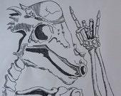 Rockin' Dino Black and White Lithograph