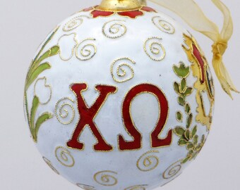 Chi Omega Cloisonne Ornament with 24k gold plating