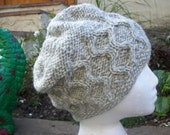 Hand Knitted Hat Cabled Chunky Eco Pure new Wool Light Green mix