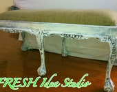 Love Me Some Burlap claw foot  Bench CUSTOM made to order