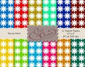 "Printable Scrapbook Paper Pack - 12 digital  papers - 12""x12"" JPG format at 300 Dpi - Round Astrix"