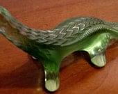 Lalique Vert Glass Lizard Paperweight