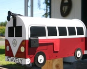 Red Volkswagen Bus Mailbox by TheBusBox Custom made VW - Choose your color - SplitBusBox