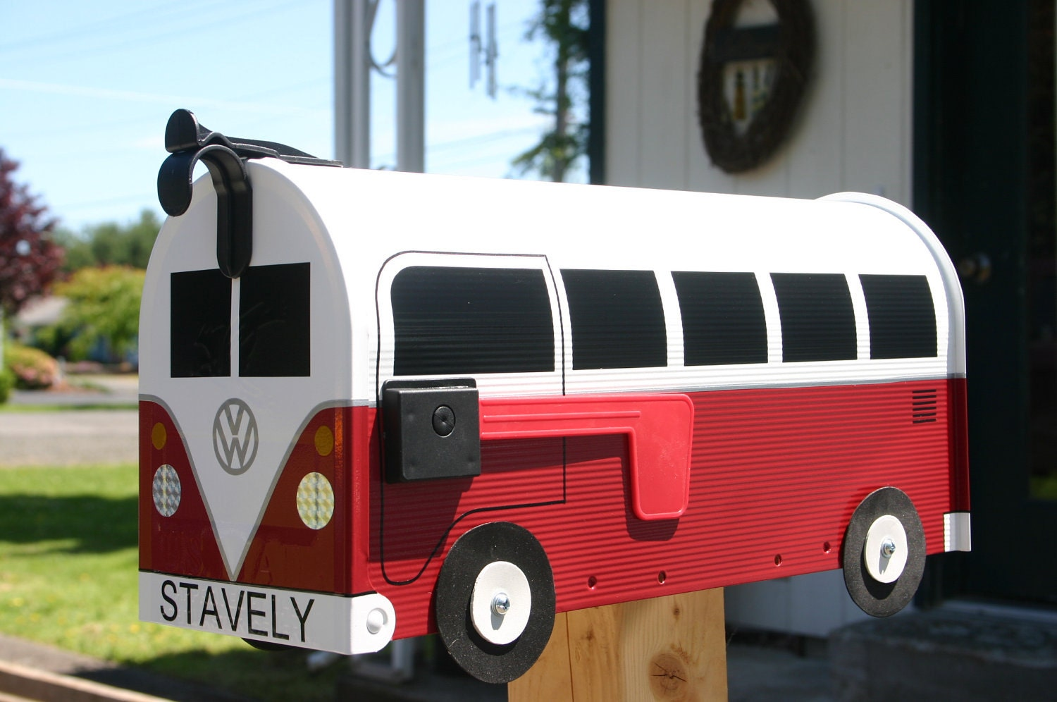 Red Volkswagen Bus Mailbox By Thebusbox Custom Made By