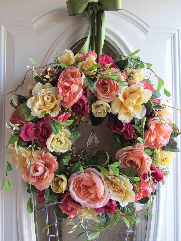 Door Wreath Summer Wreath Rose Wreath