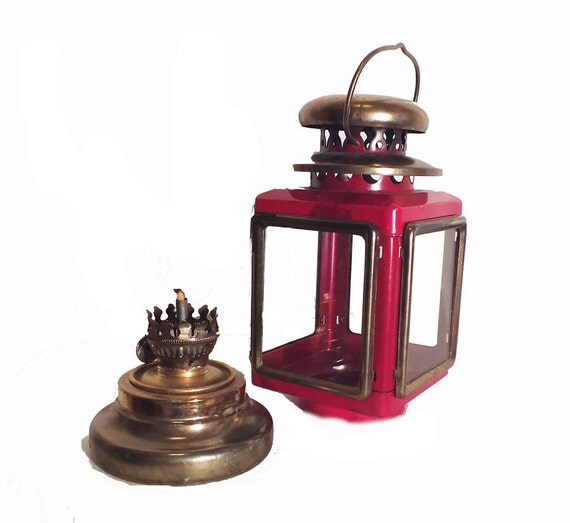 1950s Red Lantern Vintage Oil Lamp Outdoor Decor Brass Oil