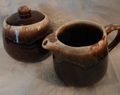 Vintage McCoy Dripware - Sugar Bowl with Lid and Creamer, Cream Pitcher (Brown)