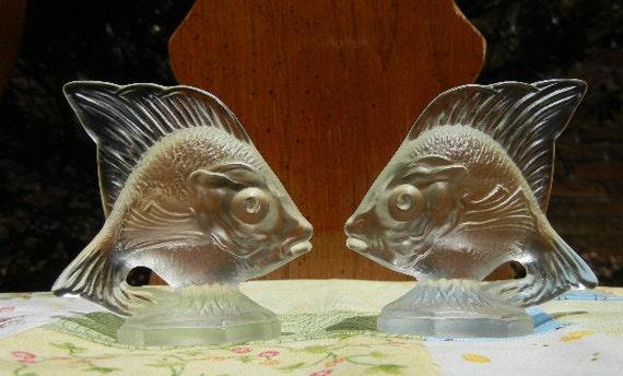 Vintage Fenton Glass Fish  (Pair) - Crystal Velvet