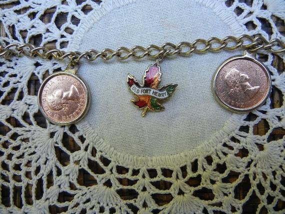 Penny Charm Bracelet: Vintage Canadian Souvenir - Queen Elizabeth