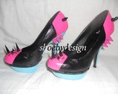 High Heel Color-block Pink,blue and black Platform shoes with spikes and crystal Rhinestones size 8