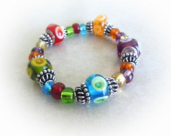 Rainbow Lampwork Stretch Bracelet with Silver Spacers 8""