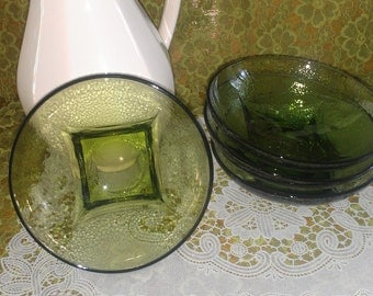 Peridot cereal bowls/hammered glass style (4) piece