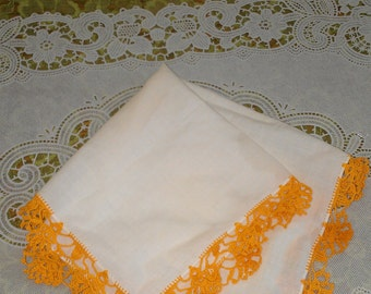 Nice vintage table top doily with gold/orange open lace edging