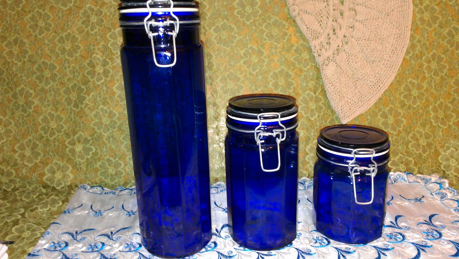 cobalt blue kitchen canisters by nostalgicglass on etsy 1000 images about kitchen canisters on pinterest