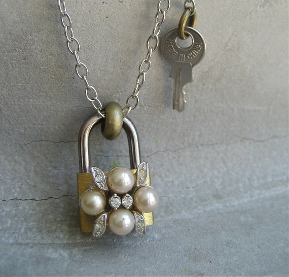 Padlock and Key Necklace - Hardware Jewelry - Brass Lock Necklace - Vintage pearl Earring Adornment - Piece Lust