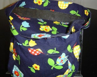 Hand Crafted Large Navy Floral Hand Bag