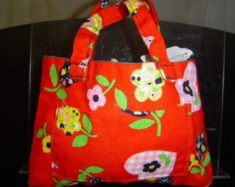 Hand Crafted Large Red Floral Hand Bag