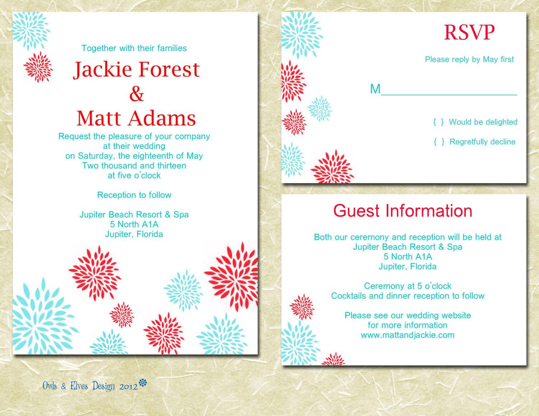 Wedding Invitations Turquoise: Turquoise And Red Printable Wedding Invitation