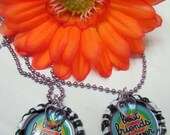 BFF Best Friends Forever - Set of 2 Matching Bottle Cap Necklaces on Purple Ball Chain