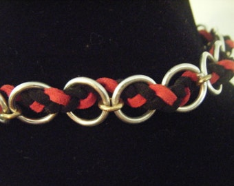 The Suede Braid - Suede strands woven into aluminum rings