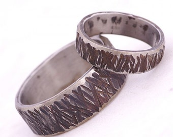 Textured wedding ring, mens ring, womens ring - Hand forged textured stainless steel wedding band - Strukt line