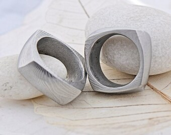 Square Wedding Ring, Mens ring, Womens ring - Hand forged stainless Damascus steel wedding ring - Kumali