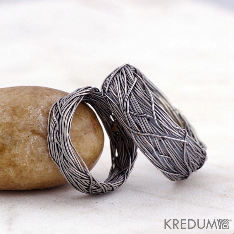 Custom Wedding Ring Mens Ring Womens Ring Coiled Stainless