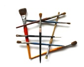 Quit Lying Around - 8x10 Print Vintage Paintbrushes Fine Art Photograph - Geometric