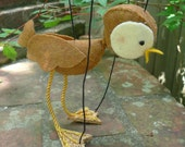 Brown Felt Sparrow Marionette Puppet (with lowered wings)