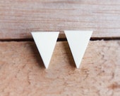 Triangle Studs - White