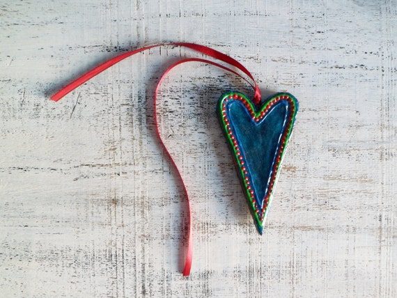 Teal heart Valentine Day decor, Valentine gift