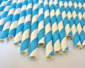 Color Your Party-25 Aqua And White Striped Paper Straws-Wedding Straws-Party Straws-Blue And White Straws-Birthday Straws-Cake Pop Sticks