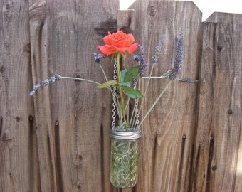 Hand Made Mason jar Hanging Vase With Frog Lid - 12 oz Quilted Jelly Mason Jar and Hanging Frog Lid