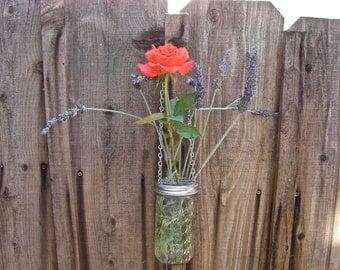 Hand Made Mason jar Hanging Vase With Frog Lid - 12 oz Quilted Jelly Mason Jar and Hanging Frog Lid