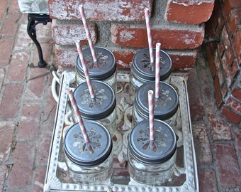 Daisy Cut Mason Jar Lids With 8 Ounce Square Mason Jars - 12 Sets Jar and Lid......SJP-12