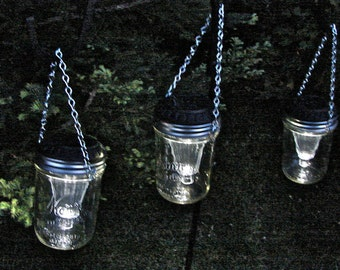 Hand Made Mason jar Wide Mouth Hanging Solar Lights - Six Pieces - Includes the jars and solar lids