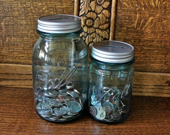 Vintage Blue Ball Pint Mason Jar With Coin Slot Mason Jar Lid