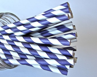 Straws -  25 Purple And White Striped Paper Straws