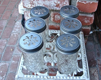 Mason Jar Tall Tumblers and Pewter Daisy Cut Mason Jar Lids - 6 Quilted Mason Jelly Jars - 6  Lids.....JJP-6