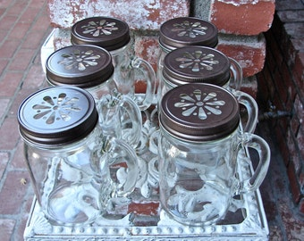 Mason Jar Mug With Handle and Bronze Daisy Cut Mason Jar Lid - 1 Mug -  1 Lid  MMB-1